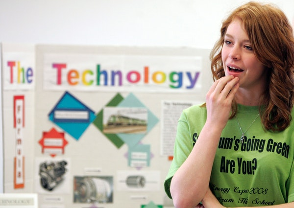 Spectrum High School student Sami Johnson talked about her team's project. Other high schoolers will show their short films about energy issues at t