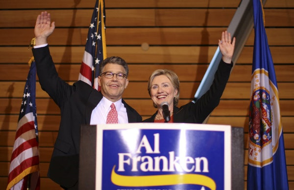 Hillary Clinton joined U.S. Senate candidate Al Franken at a rally at the University of Minnesota's McNamara Alumni Center Tuesday afternoon.