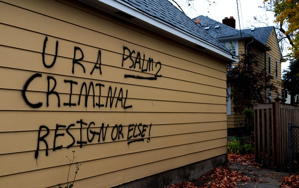 Sen. Norm Coleman's garage in St. Paul was vandalized overnight. Coleman's wife and daughter were home but said they didn't hear anything.