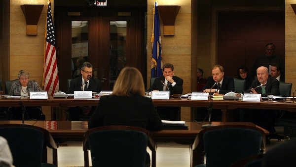 Minneapolis election director Cindy Reichert addressed members of the state Canvassing Board at the State Capitol on Friday morning. Members (l to r)