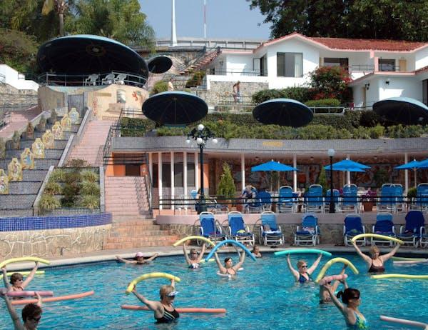 Water aerobics is offered daily at Spa Ixtapan in Ixtapan, Mexico.
