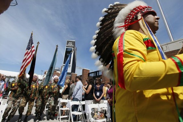 In 2009, members of the Sisseton Wahpeton Vietnam Veterans Association Kit Fox Society marched the flags in honor of a ceremony celebrating the Minnes