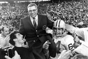 This Jan. 14, 1968 file photo shows Green Bay Packers coach Vince Lombardi being carried off the field after his team defeated the Oakland Raiders 33-
