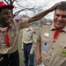 Troop 154 from Eagan is made up entirely of developmentally disabled adults, ages 31-52. Airon Hayes, left and Shawn Herron shared a joke at a recent
