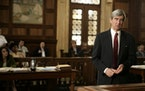 """This undated photo provided by NBC Universal shows actor Sam Waterston, left, as district attorney Jack McCoy in a scene from an episode of """"Law and"""