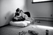 DAVID JOLES � djoles@startribune.com Coon Rapids, MN - April 27, 2010- Brittni(cq) Jones, 18, and her daughter Alissa, 21 months, sat on an infant m