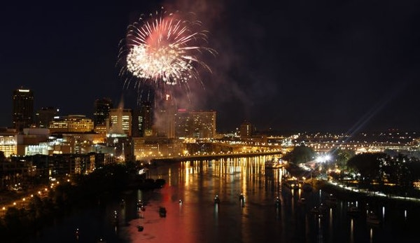 Fireworks light up the sky during the 2009 Taste of Minnesota on Harriet Island in St. Paul.