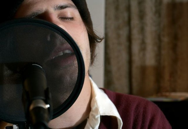 Micheal (Eyedea) Larsen rehearsing at home in St. Paul with Carbon Carousel in 2006.