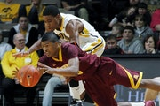Gophers freshman point guard Maverick Ahanmisi (front) is expected to get his third start of the season Wednesday against Northwestern, enabling Blake