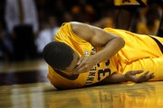 Gophers sophomore Rodney Williams reacted after being elbowed in the face in the second half.
