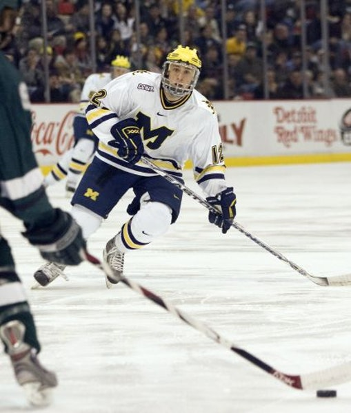 """Michigan will rely on Carl Hagelin (12) in the semifinals against North Dakota. """"They are obviously the favorite,'' he said. """"It will be tough"""