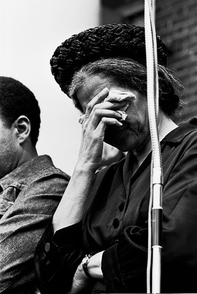 Rosa Parks weeps during funeral services for Dr. Martin Luther King Jr., in Atlanta, April 9, 1968. King was assassinated 40 years ago, April 4, 1968.