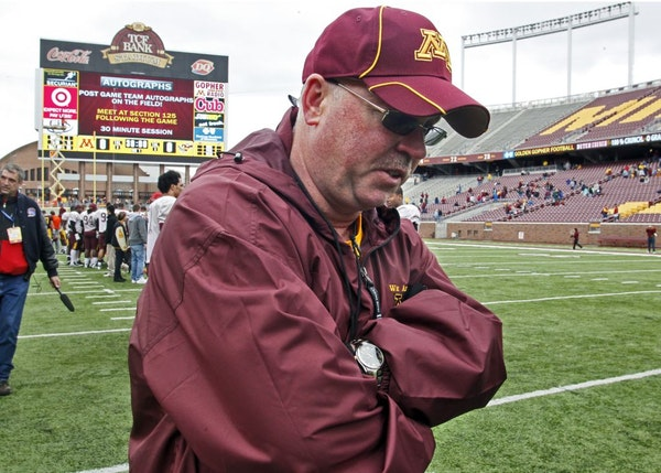 Gophers coach Jerry Kill left the field at the end of Saturday's spring game after telling his players he appreciated their effort but they had a lot