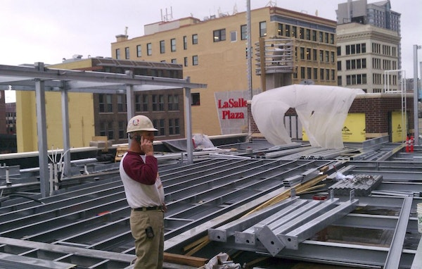 Construction underway of the rooftop patio of Crave