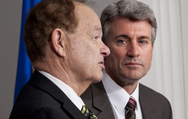 Minneapolis mayor R.T. Rybak and Timberwolves owner Glen Taylor spoke about the new proposed Vikings stadium and Target Center renovation.