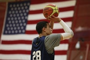 Tyus Jones 15, worked on his jump shot during tryouts at the Olympic Training Center in Colorado Springs, Co.
