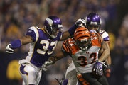 Vikings strong safety Jamarca Sanford, shown wrapping up the Bengals' Cedric Benson in a 2009 game, never forgets he was a seventh-round draft choic