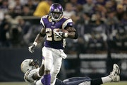 Then-Vikings rookie Adrian Peterson set an NFL single-game rushing record with 296 yards against San Diego in 2007. Four years later, the two teams me