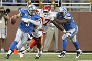 Lions quarterback Matthew Stafford scrambled out of the pocket as Kansas City outside linebacker Tamba Hali tried to sack him last week. Hali didn't
