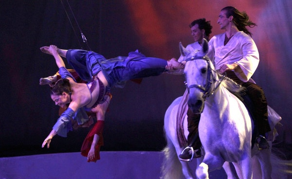 """Riders and aerialists in """"Cavalia."""""""