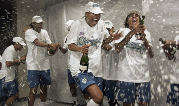 The Lynx celebrate their first-ever WNBA championship after defeating Atlanta 73-67 Friday night.