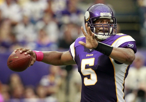Donovan McNabb attempted a pass in the fourth quarter. He completed only 10 of 21 passes for 169 yards, but it didn't matter with the Vikings scoring
