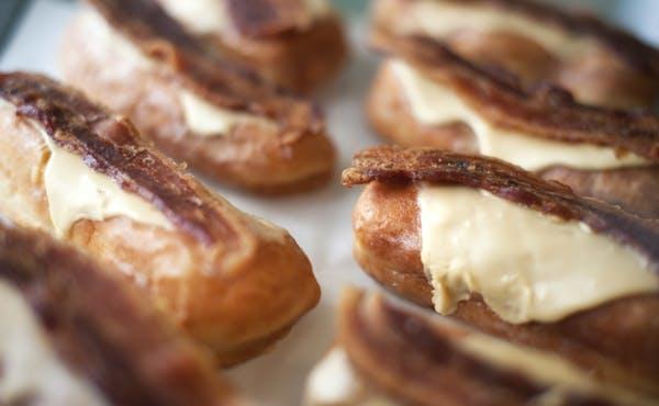 Maple bacon bar donuts at Mojo Monkey Donuts.