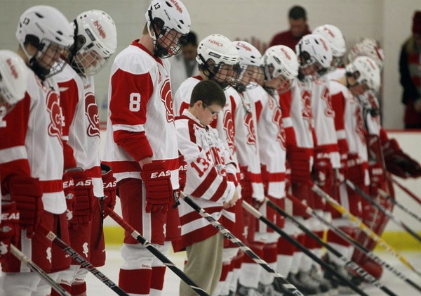 Younger brother of Jack Max Lined up with his brothers team wearing his brother jersey, 13, signed by the team [ TOM WALLACE • twallace@startribune.