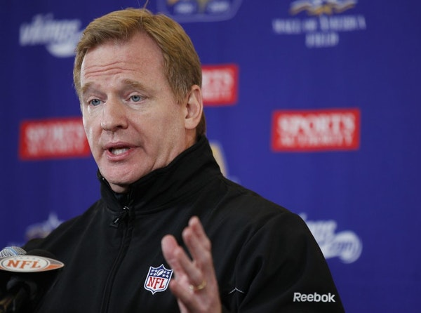 NFL Commissioner Roger Goodell speaks to the media before the Minnesota Vikings played the Chicago Bears at TCF Bank Stadium.