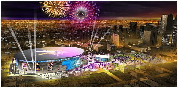 A conceptual drawing of a new Vikings stadium in Minneapolis.