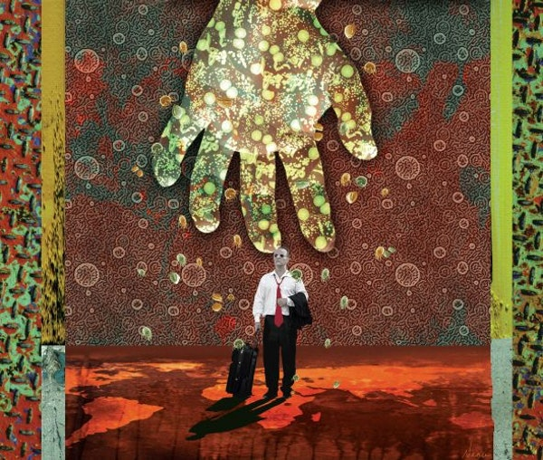 300 dpi Rick Nease color illustration of viral hand reaching down to traveling man walking on world map surrounded by an atmosphere of bacteria and vi