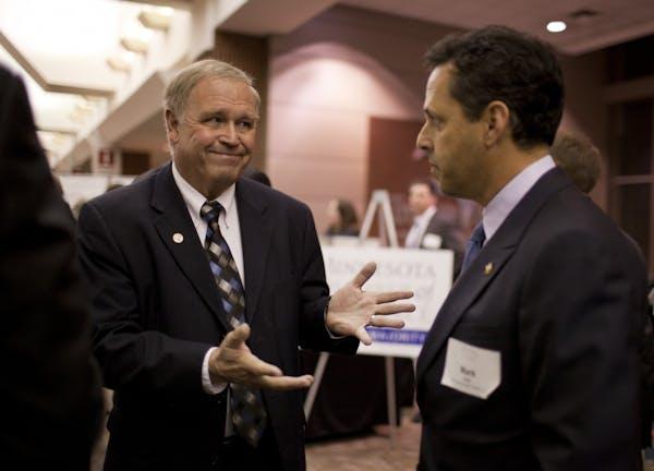 Rep. Dean Urdahl and Vikings President Mark Wilf in January