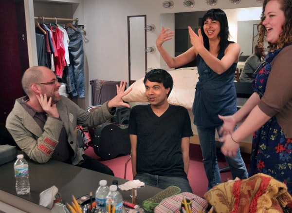New York actor Debargo Sanyal seemed to be getting direction from all sides backstage at the Playwrights' Center in Minneapolis. He was cast in a st