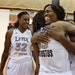 Minnesota Lynx Taj McWilliams-Franklin was greeted with a hug by teammate Seimone Augustus and Rebekkah Brunson during media day for the championship
