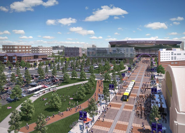 A conceptual drawing of a new Vikings stadium in Minneapolis on a game day.