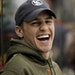 Zach Parise laughed while watching the Defending the Blue Line NHL Players Charity Game from the bench at Ridder Arena in Minneapolis on Wednesday.