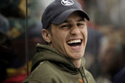 Zach Parise, laughed while watching the Defending the Blue Line NHL Players Charity Game from the bench at Ridder Arena in Minneapolis on Wednesday.