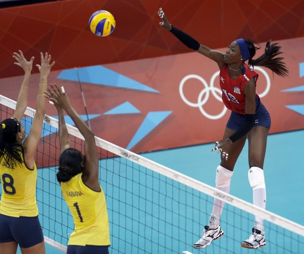 """The United States' Destinee Hooker dominated play against Brazil. """"The kid is just incredible,"""" said teammate Christa Harmotto."""