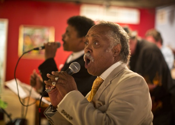 """Maurice Young sang during a release party for a new 21-track anthology of the funk/R&B scene that preceded Prince, the Time and """"Funkytown."""" The colle"""