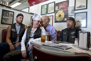 Vice President Joe Biden's talks to customers during a stop at Cruisers Diner, Sunday, in Seaman, Ohio.