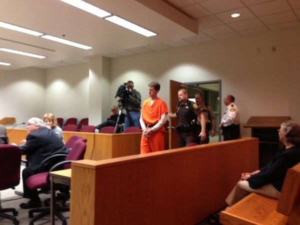 Aaron Schaffhausen enters a courtroom in St. Croix County District Court on Wednesday Nov. 21 for a pre-trial hearing.