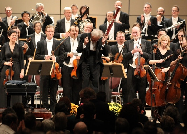 Stanislaw Skrowaczewski thanked a packed audience as they gave him and the Minnesota Orchestra musicians a standing ovation as they took the stage. Th
