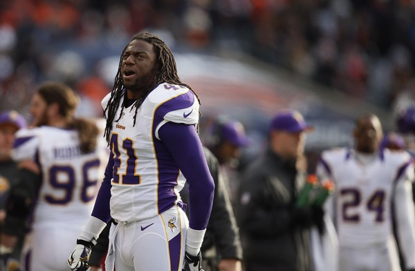 Minnesota Vikings strong safety Mistral Raymond (41) reacts after his third quarter touchdown interception was over turned during NFL action between t