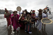 Peruvian shamans perform a ritual against the alleged 2012 apocalyptic Mayan prediction in Lima, Peru, Thursday, Dec. 20, 2012. The supposed 5 a.m. Fr
