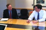 Scott Gillespie, left, talks with Wisconsin Gov. Scott Walker, who met with the Star Tribune Editorial Board on Dec. 13, 2012