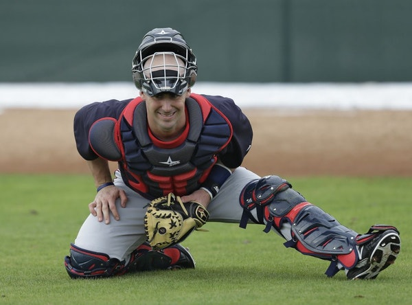 Twins catcher Eric Fryer during a spring training workout.