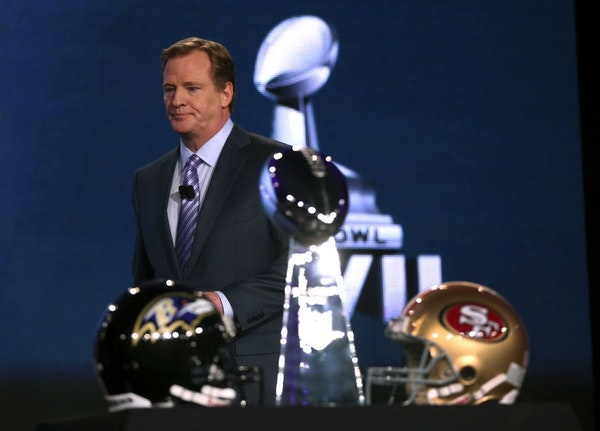 NFL commissioner Roger Goodell at a news conference in New Orleans.