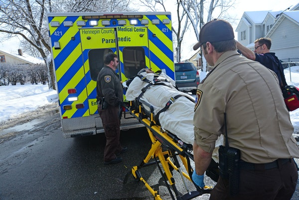 One of the four people injured at South High School in Minneapolis was taken by ambulance to a hospital for treatment.