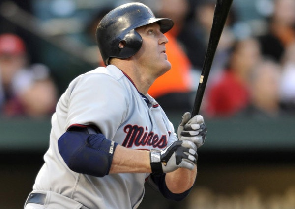 Jim Thome during his time with the Twins. Currently unemployed, there's talk he could rejoin the team this season.