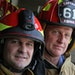 """Edina's Todd Porthan, left, says he likes his new helmet: """"You have to be safe."""" At right, Capt. Joel Forseth wore the traditional firefighter h"""